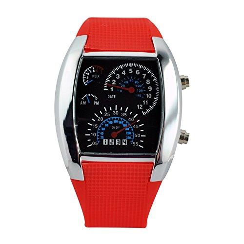 TOOGOO(R) LED Uhr Sektor Sport Auto Meter Zifferblatt Maenner und Frauen Armbanduhr (rot)