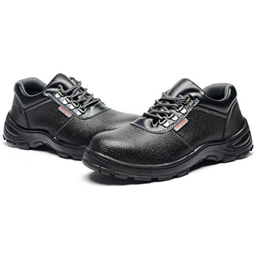 NiSeng Homme Chaussures À Embout en Acier Botte de Sécurité Chaussure de Chantier Chaussure de Sécurité Noir