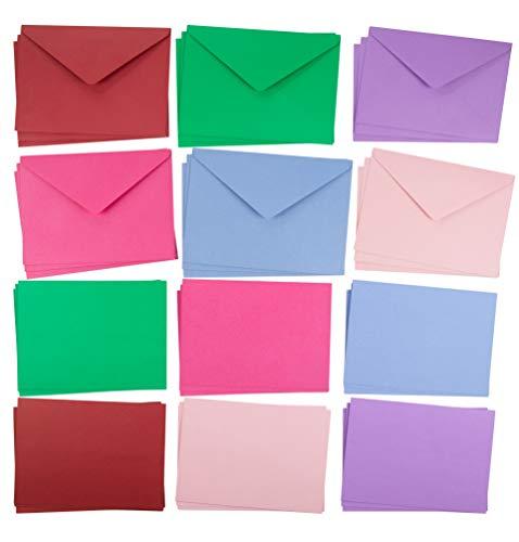 48 leere Grußkarten - einfarbige Karten und passende farbige Umschläge für DIY Urlaubskarten, Dankeskarten, Party-Einladungen, Geburtstag, Hochzeit, 6 Farben, 12,7 x 17,8 cm