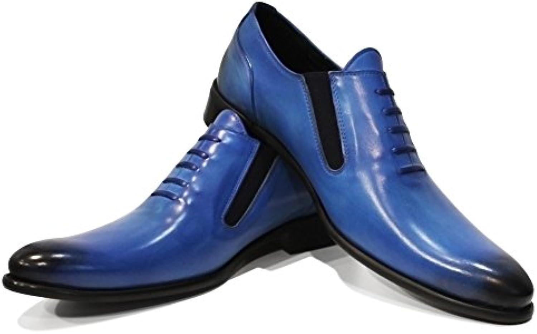 PeppeShoes Modello Blukano   Handgemachtes Italienisch Leder Herren Blau Mokassins Müßiggaumlnger und Slip Ons