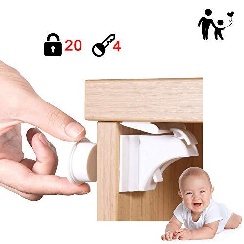 Douer Magnetische Kindersicherung Schrankschloss(20 Schlösser mit 4 Schlüssel), Baby Sicherheit Unsichtbare Schubladensicherung Kindersicherung für Küchen