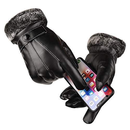 Marico Nahum Kaltes Wetter Touchscreen Schnee Handschuhe - wasserdicht Winddicht Leder Cabrio Ski Snowboard Schneemobil, für Männer und Damen