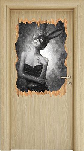 Maskierte attraktive Frau Kohle Zeichnung Effekt Holzdurchbruch im 3D-Look , Wand- oder Türaufkleber Format: 92x62cm, Wandsticker, Wandtattoo, Wanddekoration (Karneval Kostüme Zeichnungen)