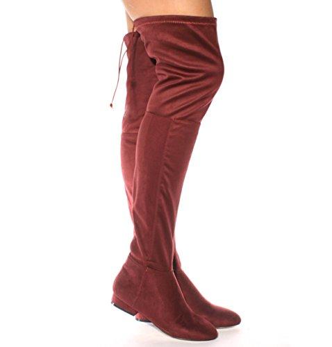 Neuf pour femmes au niveau de la cuisse Bottes hautes sur le genou stretch Soirée Tailles 3–8 Bordeaux