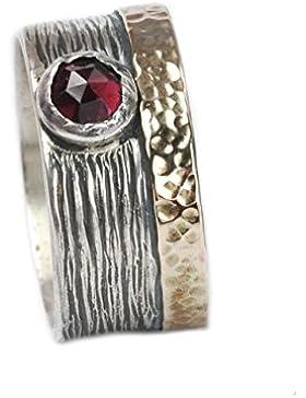 Tiljon Breiter Granat Ring 925er Silber mit 375er Gold Umrandung