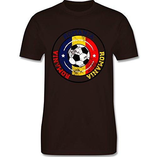 EM 2016 - Frankreich - Romania Kreis & Fußball Vintage - Herren Premium T-Shirt Braun