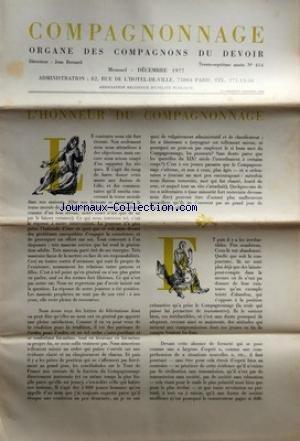 COMPAGNONNAGE [No 414] du 01/12/1977 - L'HONNEUR DU COMPAGNONNAGE - 3 CHANTIERS DE COUVERTURE - DU PLOMB A L'INOX PLOMBE