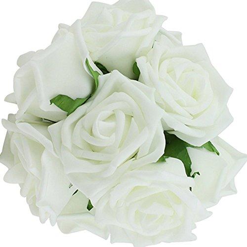 Butterme 10pcs Latex Real Touch künstliche Rosen-Blumen-Braut Hochzeit Brautjungfer Brautblumenstrauß für Hochzeit Hauptdekorationen(Weiß)