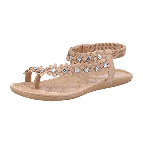 Sandali donna con zeppa eleganti, sandali donna sandalo sandali punta aperta, estate boemia fiore perline flip-flop scarpe flat sandali uomogo (asia 35, caffè 2)