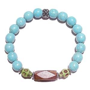Men's Gemstone Stretch Bracelet w/ Skull Beads & Wood - Turquoise Approx. 21cm