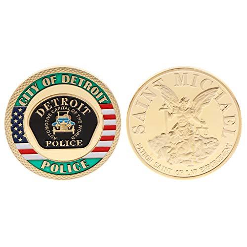 Oukerst moneta commemorativa detroit police america stati uniti collezione di poliziotti souvenir placcati monete in lega artigianato arte argento oro