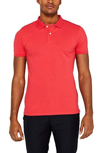 Lässige Cotton Polo Shirt (ESPRIT Herren 029Ee2K034 Poloshirt, Rot (Coral Red 640), (Herstellergröße: XX-Large))