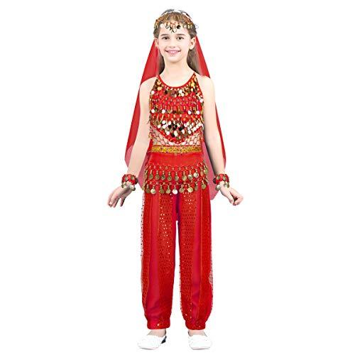 Mädchen Indien Kostüm - FEESHOW Mädchen Bauchtanz Kostüme 5er Indien Tanzkleidung Set Neckholder Top+Hose+Gesichtsschleier+Armband+Münzgürtel Fasching Karneval Outfits Rot 104-110/4-5 Jahre
