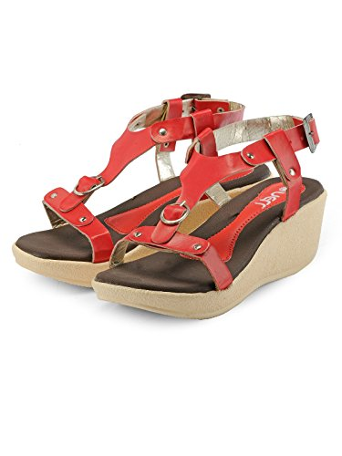 Nell Women Red Solid Wedges ( Size-40)  available at amazon for Rs.399
