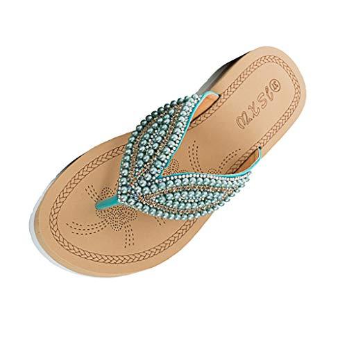 SHE.White Sandalen Damen Sommer Perlen Sandalen Sommerschuhe Flache Sandaletten Toe Separator Flip-Flop Dicker Boden Hausschuhe Slipper -