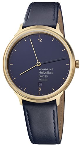 Mondaine Helvetica No1 Women's Watch Black/Gold/Blue mh1.l2241 LD