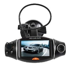 R310 voiture caméra enregistreur de conduite noir 2,7 pouces 140 degrés Double Objectif du tableau de bord DVR enregistreur vidéo boîte + GPS enregistreur