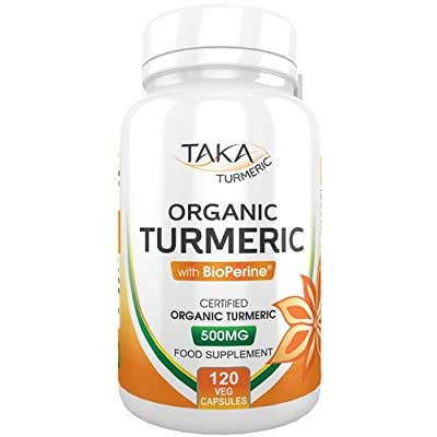 Organic Turmeric with BioPerine 120 Veg Capsules By TAKA Turmeric | Additive Free with Excellent Curcumin Absorption from the addition of BioPerine | 100% Money Back Guarantee