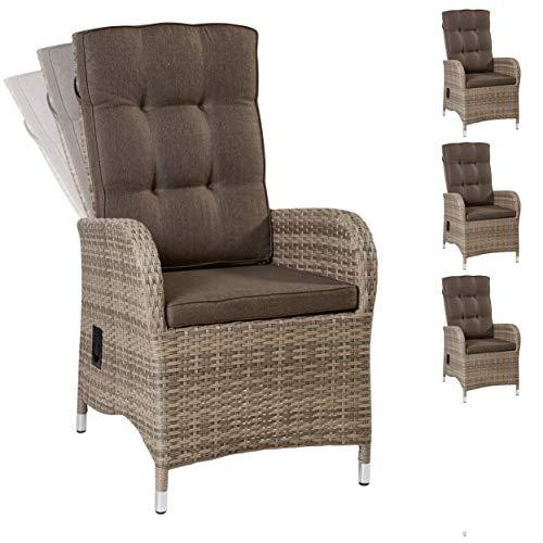 Wholesaler GmbH 4X LC Garden Positionsstuhl Verstellsessel Turin Dining Natur mit stufenlos Verstellbarer Rückenlehne Polyrattan-Geflecht -