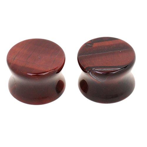 2pcs Expanseurs de l'Oreille en Pierre Piercing Ecarteur Plug Rond Boucle d'Oreille Bijoux de Corps Chic (Rouge) 12mm