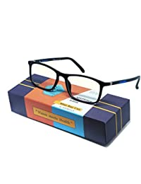 AFERELLE® Silvercare Blue Ray Cut UV 420 Unisex Zero Power Spectacles with Anti-glare for Healthy Eyes (Silvercare|medium)