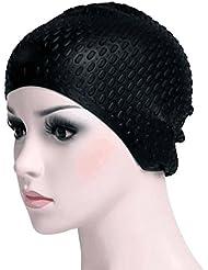 Bonnet de Bain, HiCool Bonnet de Natation/Piscine Esthétique en Silicone pour Adulte Étanche Épais avec 2 Encoches pour Oreilles