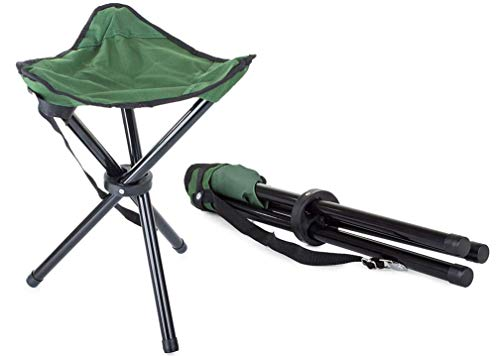 IPRIME Mini Klappstuhl Sitzhocker Campingstuhl Klapphocker Falthocker Angelhocker Dreibeinhocker 3-Bein-Hocker 28 x 28 x 37 cm grün