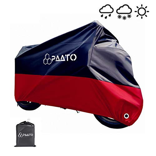 PAATO™ Premium Motorradabdeckung I L245 x B105 x H125 CM I inkl. Beutel, rot/schwarz
