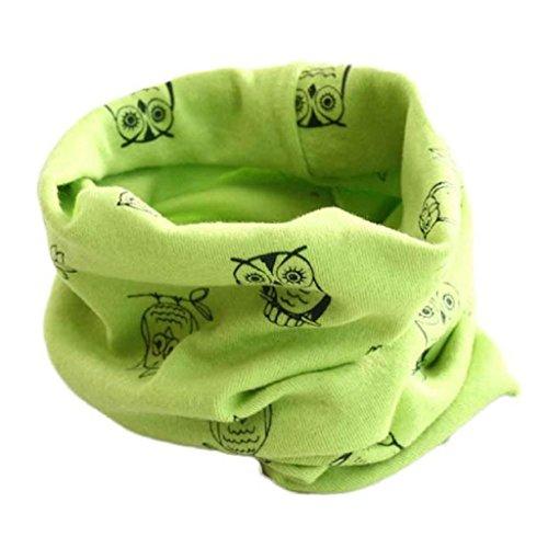 Babybekleidung Schals Longra Herbst-Winter-Baby-Mädchen-Eulen Kragenbaby -Schal Baumwolle O-Ring Halstücher (40 * 40cm) (Green)