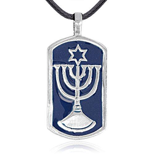 Llords Schmuck Menora Anhänger Halskette jüdischer Tempel, feinster Zinn Metall (Ändern Der Kunst Die Kostüme)