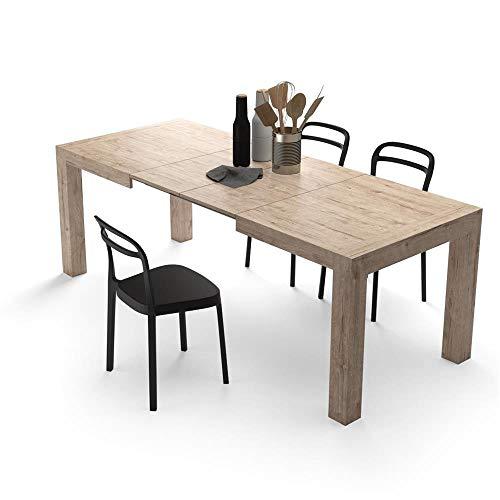 Mobili fiver, tavolo allungabile moderno, iacopo, quercia, 140 x 90 x 77 cm, nobilitato, made in italy, disponibile in vari colori
