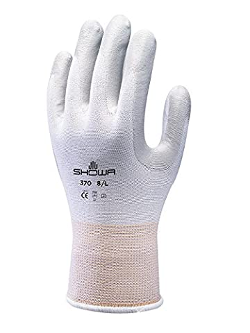 Showa Gloves SHO370-M No.370 Palm Fit Glove, Size: M, White/Grey