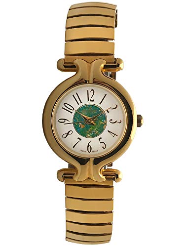 Peugeot Women's Gold-Tone Expansion Band Wrist Watch with Full Arabic Numerals on Easy-to-Read Dial