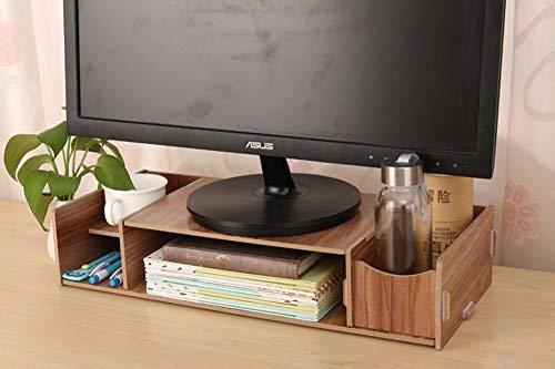 Organizer da scrivania, in legno, con 4 scomparti, con portapenne, per ufficio e casa 48 x 20 x 9.5cm(lxbxh) marrone