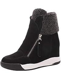 LILICAT❋ Pendiente Interior con Zapatos de Plataforma con Cremallera, Mujeres Cuñas Zapatillas de Muffin Zapatillas de Deporte de Gamuza Zapatos Casuales Mantener Las Botas de Nieve Calientes