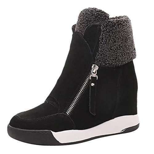 MYMYG Frauen Stiefeletten Wedges Plüsch Muffin Schuhe Sneakers Wildleder Freizeitschuhe halten warme Schneeschuhe Runde Zehe Schuhe Chelsea Boots Winterstiefel