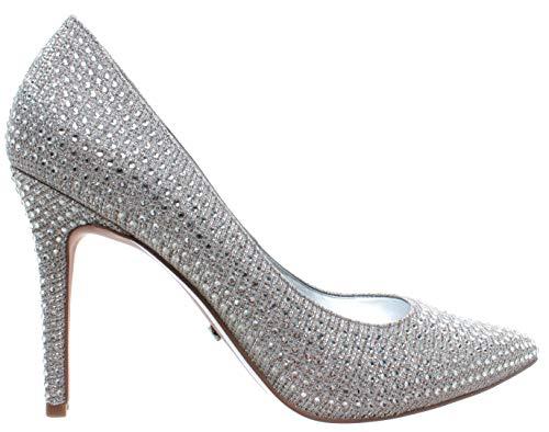 Michael Kors Claire Pump Glitter Chain Mesh 40R9CLHP1D Wht SIL Chmp Damen Schuhe