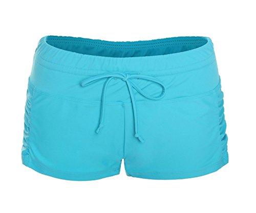 ReliBeauty Damen Einfarbig Beidseitige Falten Boyshort Verstellbare Kordel Elastische Schwimmen Badeshorts, Blau, XL (Blau Boyshorts)