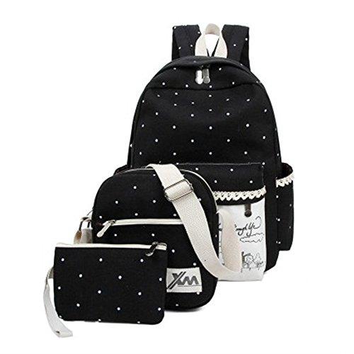 Minetom Pois 3 Pezzi Clutch Bag Messenger Tela Borsa Zainetto Donna Spalla Zaini Scuola Superiore Zainetti Ragazze Nero