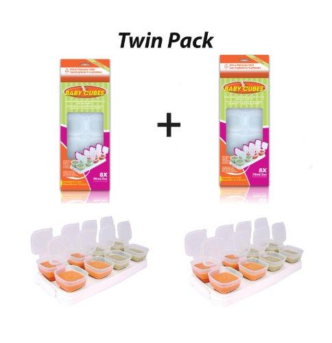 Mamma felice 2 confezione di Baby cubi alimentari cubo Portioners Storage pentole 70 ml (fase 2)