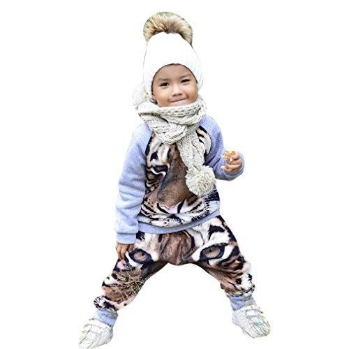 Bekleidung Longra Baby Jungen Mädchen Kleidung mit Herbst Langarm Tiger T-Shirt Pullover Top + Hosen Outfit Kleider Set(0 -24Monate) (100CM 24Monate, Gray) (Jacken Tiger Kinder)