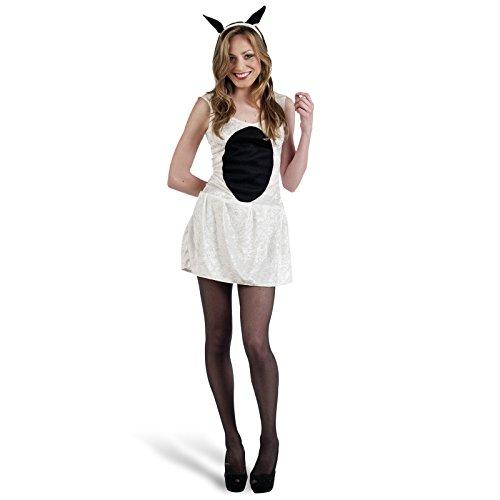 Schäfchen Tier Kostüm Damen 2-teilig Kleid und Haarreif für Karneval und Mottoparty - (Schäfchen Kostüm)