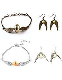 Shopping World New Harry Potter Bronze & Silver Snitch Wing Golden Quidditch Pendant Earrings In Long Drop & Quidditch...