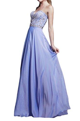 Missdressy Damen Elegant Chiffon Perlenstickerei Herz-Ausschnitt Falte A-Linie Abendkleid Partykleid Festkleid Abschlusskleid Lilac