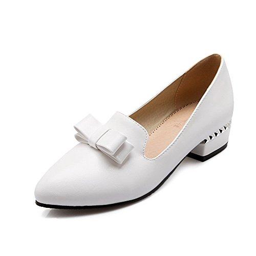 VogueZone009 Femme à Talon Bas Couleur Unie Tire Matière Souple Pointu Chaussures Légeres Blanc