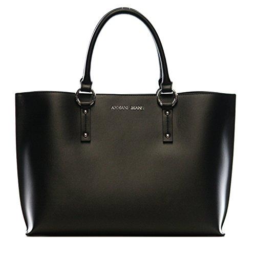 Armani Jeans Kunstleder-Einkaufstasche Schwarz Ein Größe