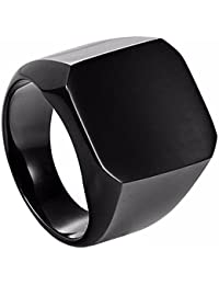 Yellow Chimes Cool Casual Stainless Steel Ring for Men (Black)(YCSSRG-525RCK-BK)