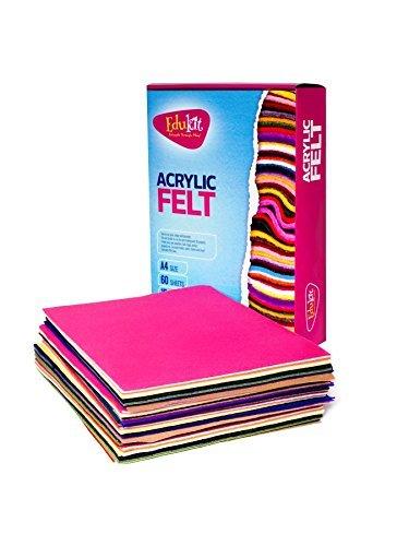 Bastelfilz 60 Filzplatten dekorativer Filzstoff DIN A4 farblich sortiert 4 Bögen je Farbe Filzuntersetzer Platzset Megapack Filz zum Basteln