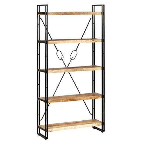 vidaXL Bücherregal mit 5 Ablagen Massivholz Mango Stahl 90x30x180cm Standregal -