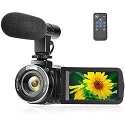 Cámara de Video Digital Full HD 1080P Cámara de Video Digital 30FPS Función de Pausa Cámara de Grabación con micrófono Externo y Control Remoto